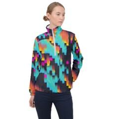 Rectangles In Retro Colors                                  Women Half Zip Windbreaker