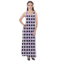 Black Flower On Pink White Pattern Sleeveless Velour Maxi Dress by BrightVibesDesign