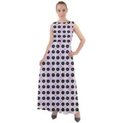 Black Flower On Pink White Pattern Chiffon Mesh Boho Maxi Dress by BrightVibesDesign