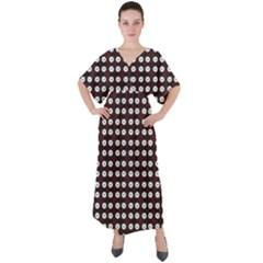 White Flower Pattern On Pink Black V-neck Boho Style Maxi Dress by BrightVibesDesign