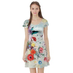 Floral Bouquet Short Sleeve Skater Dress by Sobalvarro