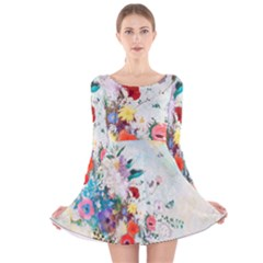 Floral Bouquet Long Sleeve Velvet Skater Dress by Sobalvarro