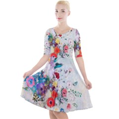 Floral Bouquet Quarter Sleeve A Line Dress by Sobalvarro