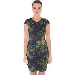Pineapples Pattern Capsleeve Drawstring Dress  by Sobalvarro