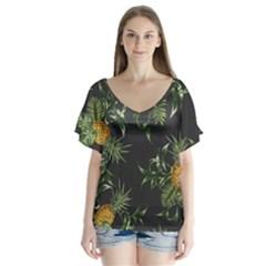 Pineapples Pattern V Neck Flutter Sleeve Top by Sobalvarro