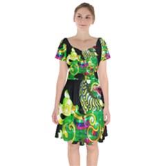 Green Ki Rin Short Sleeve Bardot Dress by Riverwoman