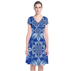 Abstract Art Artwork Fractal Design Short Sleeve Front Wrap Dress