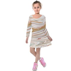 Brown And Yellow Abstract Painting Kids  Long Sleeve Velvet Dress