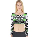 Deathrock Skull Long Sleeve Crop Top