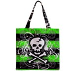 Deathrock Skull Zipper Grocery Tote Bag