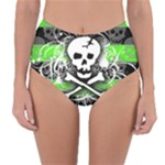 Deathrock Skull Reversible High-Waist Bikini Bottoms