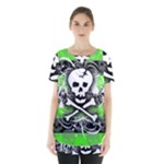 Deathrock Skull Skirt Hem Sports Top