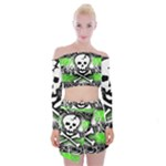 Deathrock Skull Off Shoulder Top with Mini Skirt Set