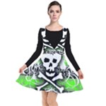 Deathrock Skull Plunge Pinafore Dress