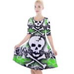 Deathrock Skull Quarter Sleeve A-Line Dress