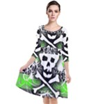 Deathrock Skull Quarter Sleeve Waist Band Dress