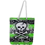Deathrock Skull Full Print Rope Handle Tote (Large)