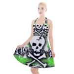 Deathrock Skull Halter Party Swing Dress