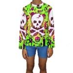 Deathrock Skull & Crossbones Kids  Long Sleeve Swimwear