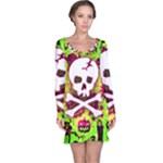 Deathrock Skull & Crossbones Long Sleeve Nightdress