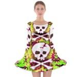 Deathrock Skull & Crossbones Long Sleeve Skater Dress