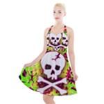 Deathrock Skull & Crossbones Halter Party Swing Dress