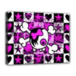 Emo Scene Girl Skull Canvas 14  x 11  (Stretched)