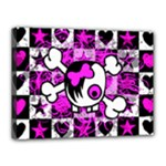 Emo Scene Girl Skull Canvas 16  x 12  (Stretched)