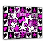 Emo Scene Girl Skull Canvas 20  x 16  (Stretched)