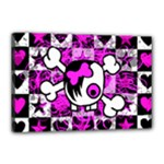 Emo Scene Girl Skull Canvas 18  x 12  (Stretched)