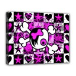 Emo Scene Girl Skull Deluxe Canvas 20  x 16  (Stretched)