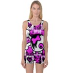 Emo Scene Girl Skull One Piece Boyleg Swimsuit