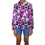 Emo Scene Girl Skull Kids  Long Sleeve Swimwear