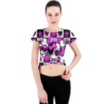 Emo Scene Girl Skull Crew Neck Crop Top