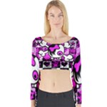Emo Scene Girl Skull Long Sleeve Crop Top