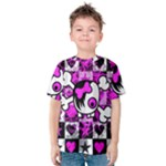 Emo Scene Girl Skull Kids  Cotton Tee