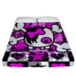 Emo Scene Girl Skull Fitted Sheet (Queen Size)