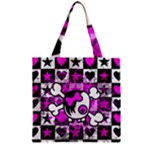Emo Scene Girl Skull Zipper Grocery Tote Bag
