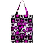 Emo Scene Girl Skull Zipper Classic Tote Bag