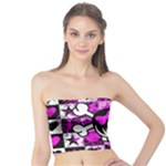 Emo Scene Girl Skull Tube Top