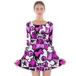 Emo Scene Girl Skull Long Sleeve Skater Dress