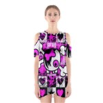 Emo Scene Girl Skull Shoulder Cutout One Piece Dress