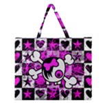 Emo Scene Girl Skull Zipper Large Tote Bag