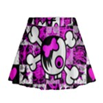 Emo Scene Girl Skull Mini Flare Skirt