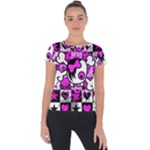 Emo Scene Girl Skull Short Sleeve Sports Top