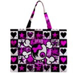 Emo Scene Girl Skull Zipper Medium Tote Bag