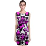 Emo Scene Girl Skull Sleeveless Velvet Midi Dress