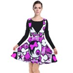 Emo Scene Girl Skull Plunge Pinafore Dress