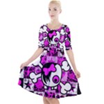 Emo Scene Girl Skull Quarter Sleeve A-Line Dress