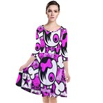 Emo Scene Girl Skull Quarter Sleeve Waist Band Dress